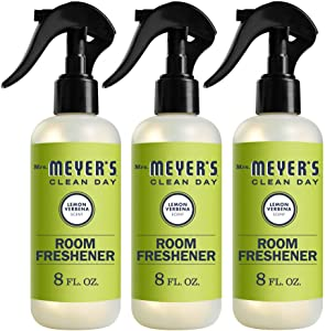 Mrs. Meyer's Clean Day Room Freshener, Lemon Verbena Scent, 8 Ounce Non-aerosol Spray Bottle (Pack of 3)