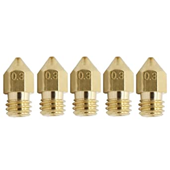 0,5 mm Estrusore per 1,75 mm ABS PLA stampante M6 ugello in ottone a 3 * 0.4 mm UEETEK 6pcs 3D stampante testa ottone ugello 0,2 mm 0,3 mm