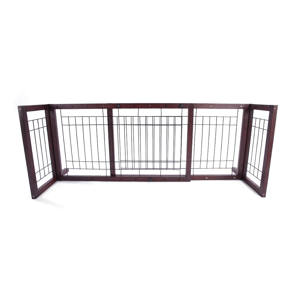 Bonnlo Wooden Pet Gate Freestanding Adjustable Dog Cat Gate/Fence/Barrier for Openings up to 70-Inches, Cherry