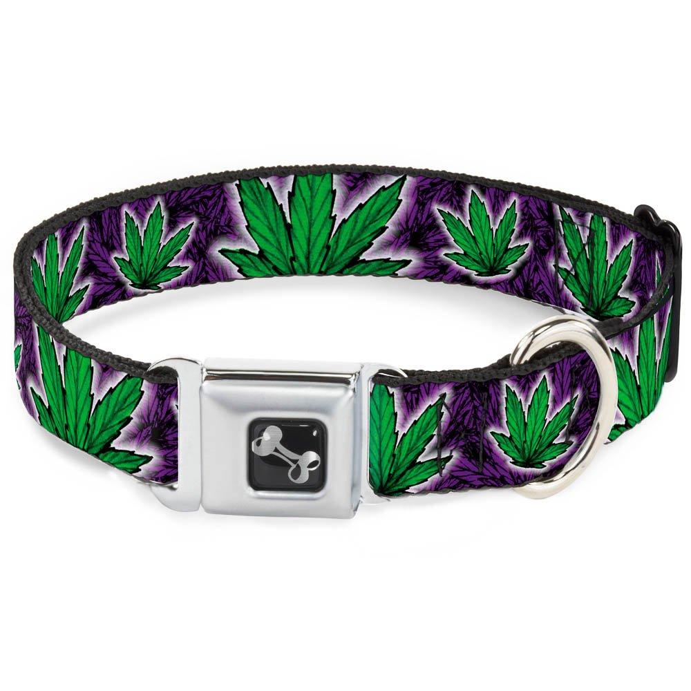 Buckle-Down Seatbelt Buckle Dog Collar Marijuana Haze Purple 1  Wide Fits 15-26  Neck Large