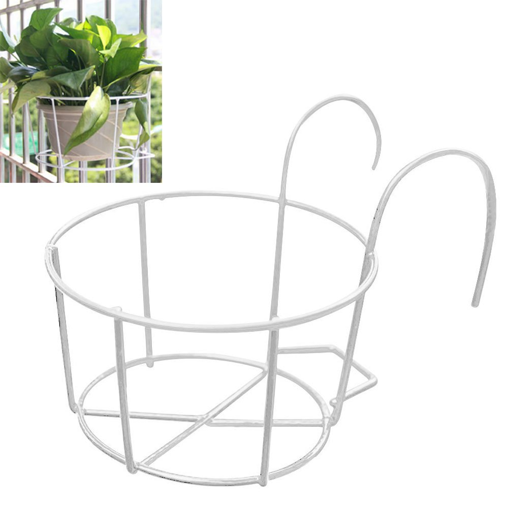 Mishiner Round Metal Hanging Plants Flower Pot Holder Balcony Flowerpot Holder for Home Garden Railings (White,Diameter:25cm) by Mishiner