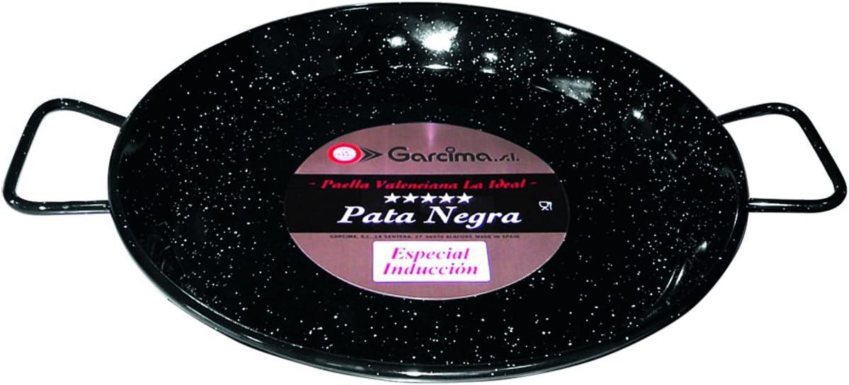 La Ideal Esmaltada Paellera Pata Negra Inducción, Negro, 42cm