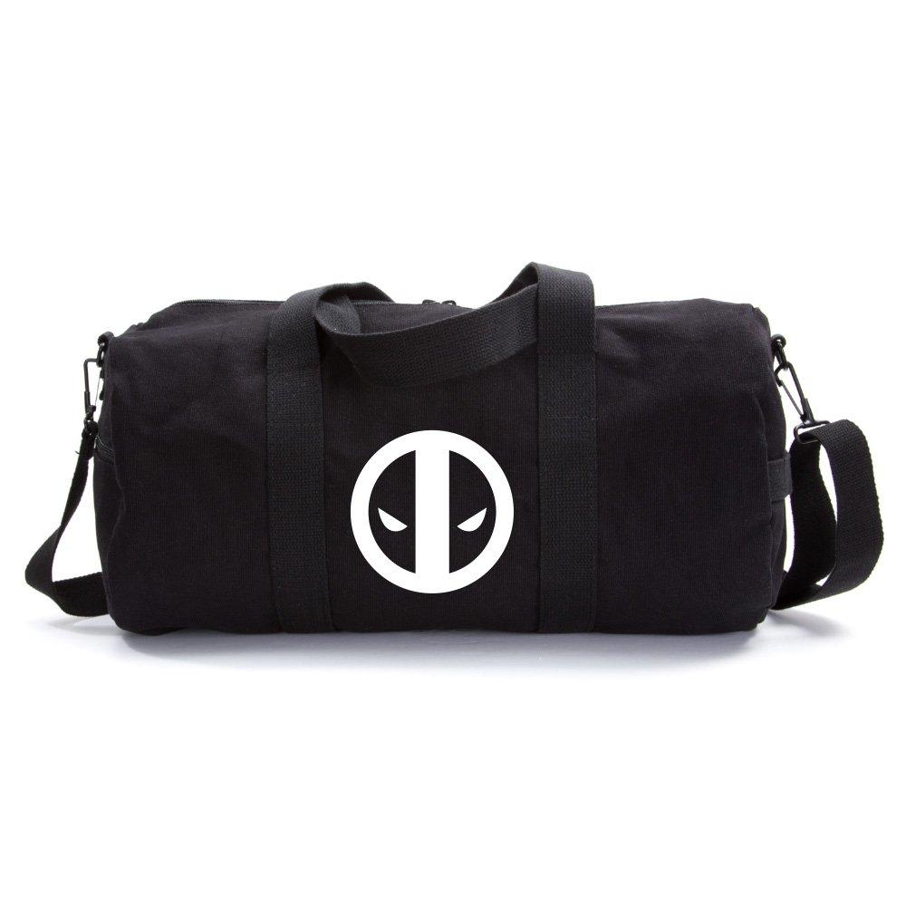 Deadpool Logo Sport Heavyweight Canvas Duffel Bag in Black & White, Medium