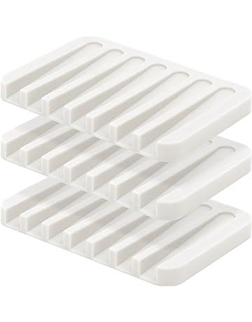 anwenk jabón plato de jabón bandeja de cascada – Jabonera jabón soporte escurridor para ducha/