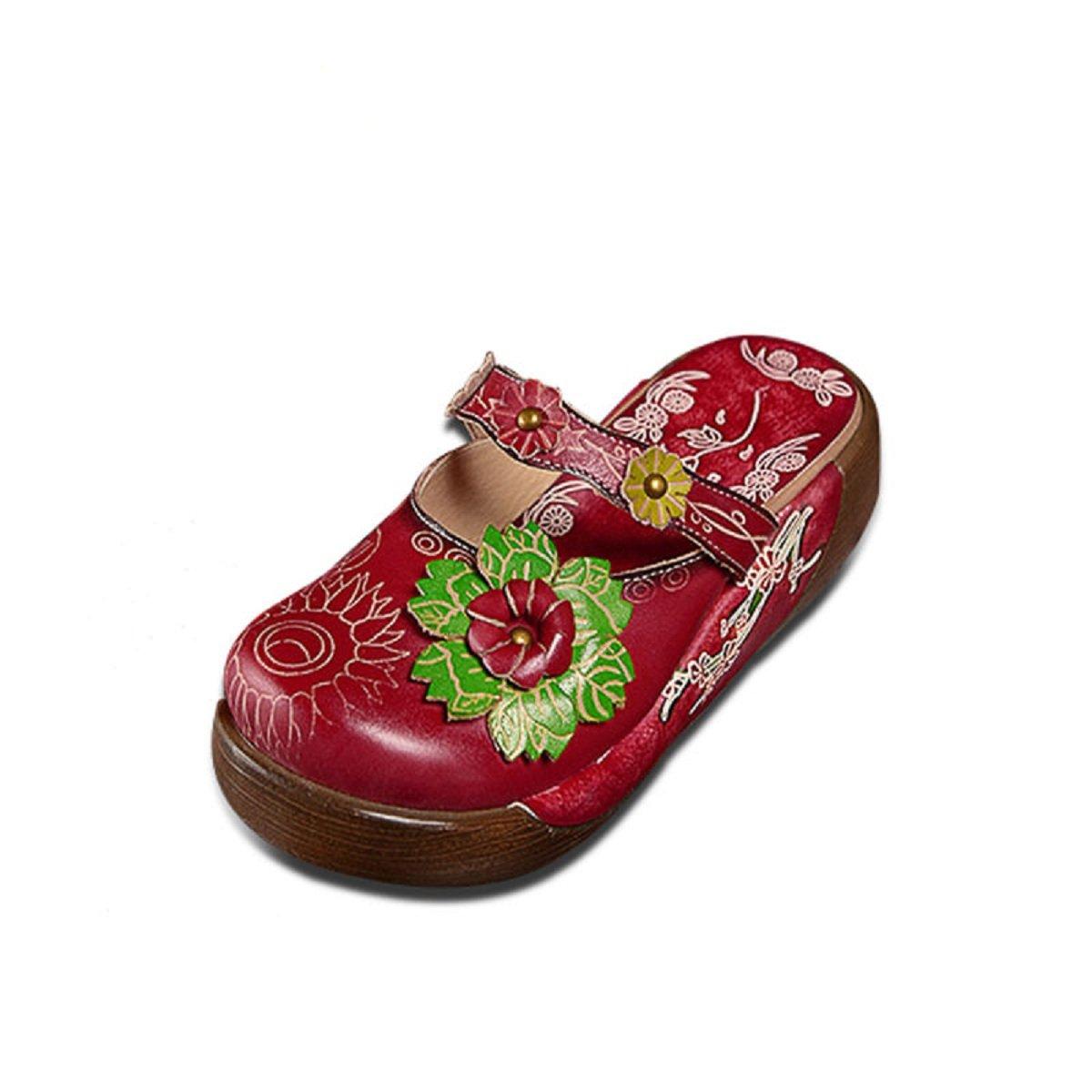 Socofy Sabots Femmes Filles, Chaussures Été Printemps en Cuir Mules avec Fleurs Colorés à Talons Compensés Plateformes Clogs Ville pour Jardin Vacances Plage Design Original Confortable SOCOFYUKBEATT6376