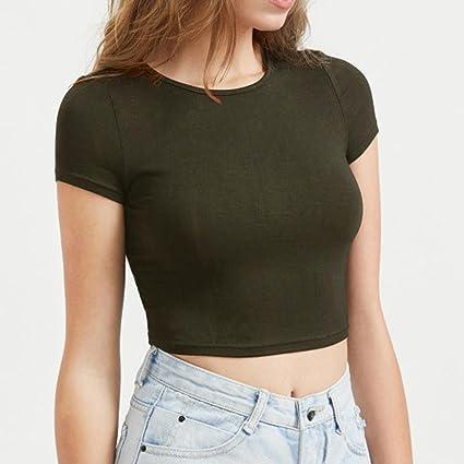 Hevoiok T-Shirt Damen Sommer Bauchfrei Pure Farbe Tank Kurzarm Slim Crop  Tops Oberteile Bluse  Amazon.de  Bekleidung 975b778ec2