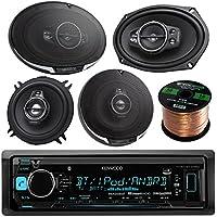 Kenwood KMM-BT315U Single DIN Bluetooth In-Dash AM/FM Car Stereo Receiver Bundle Combo With 2x 6x9 1300W 5-Way Flush Mount Coaxial Speakers + 2x 6.5 320W Audio Speaker + Enrock 50 Ft Speaker Wire