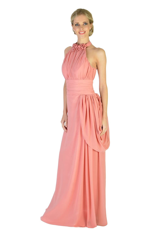 Royal Halter Neck Dusky Pink Lace Back Long Ball Gown Bridesmaids Dress - EDJ1321