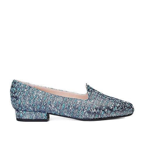 GENNIA Cibeles Marino Azul - Mocasines para Mujer de Textil Chanel y con Mini Tacón de 2 cm: Amazon.es: Zapatos y complementos