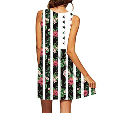 SCSAlgin Womens Summer Dress, Sleeveless Boho 3D Floral ...