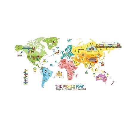 Stazsx Farbenfrohe Weltkarte Wandtattoo Wandsticker Wandaufkleber