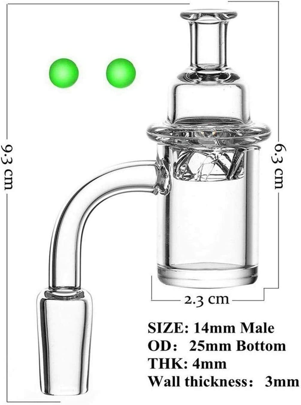 RUIKI 2PCS 14mm Male Quartz 90 Degree 25mm Wide with Quartz Glow Ball Glass Collector Transparent and white bottom