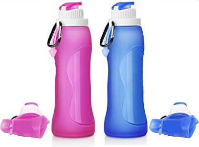 2Pcs Folding Flat Water Bottle Sports Running drink Bottle with clip-on