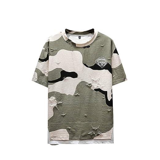 Camiseta de Manga Corta para Hombre, Verano, con Cuello Redondo ...