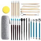 Conjunto de 25 peças de ferramentas para esculpir argila, caneta profissional para esculpir ponta de escultura, ferramenta de
