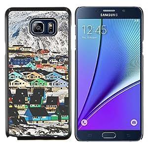 LECELL--Funda protectora / Cubierta / Piel For Samsung Galaxy Note 5 5th N9200 -- Montaña Casas Arquitectura colorido --