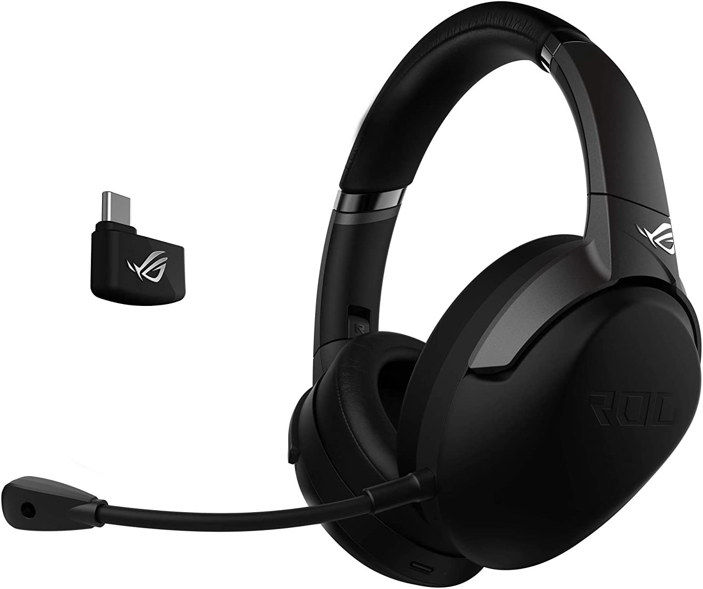 ASUS ROG Strix GO 2.4 - Auriculares de Gaming inalámbricos (2.4 GHz USB-C, micrófono con cancelación de Ruido por IA, compatibles con PC, Mac, Nintendo Switch, Dispositivos Inteligentes y PS4) Negro