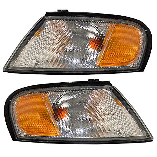 Driver and Passenger Park Signal Corner Marker Lights Lamps Lenses Replacement for Nissan 26125-9E025 26120-9E025