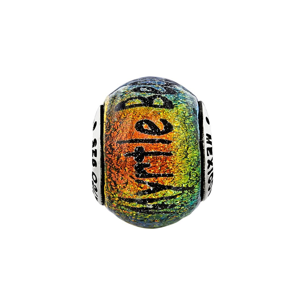 Jewel Tie 925 Sterling Silver Reflections Myrtle Beach Orange Dichroic Glass Bead 9.1mm x 12.7mm