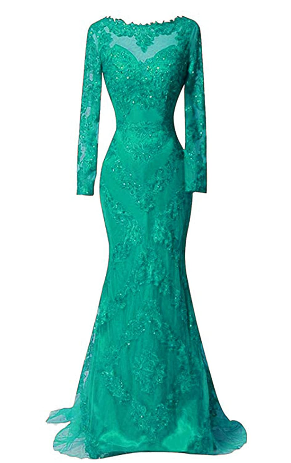 Turquoise Ri Yun Women's Long Sleeves Lace Prom Dresses Mermaid Formal Evening Ball Gowns 2019