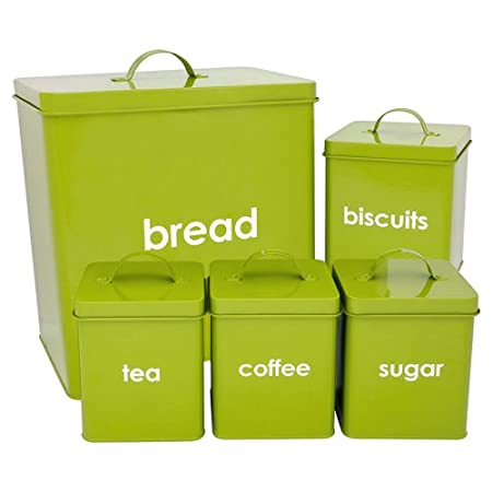 Delicieux Denny International® 5 Piece Kitchen Storage Includes Bread Bin Biscuit Tea  Coffee Sugar Caddy Tins