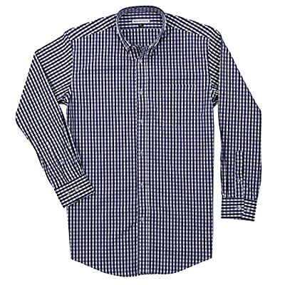 Men's Long Sleeve Button Down Stretch Fit Gingham Plaid Shirt