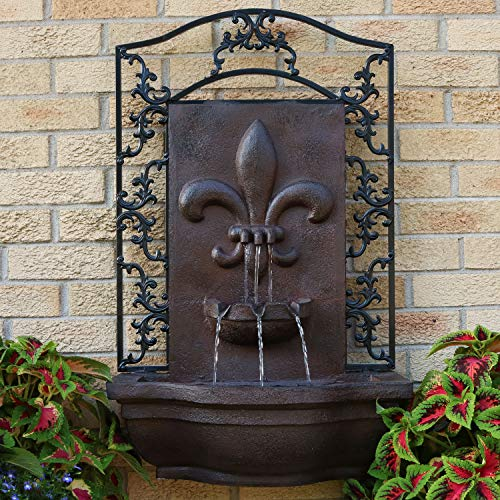 Sunnydaze French Lily Outdoor Wall Mounted Water Fountain with Electric Submersible Pump, 33-Inch, Iron Finish by Sunnydaze Decor (Image #2)