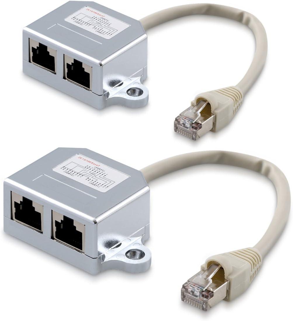Kwmobile 2x Netzwerkkabel Splitter Anschlussverdoppler Computer Zubehör