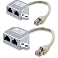 kwmobile 2x cable de red - Distribuidor de conexión LAN - Adaptador modulado T cable LAN CAT5 - Adaptador RJ45 Macho a 2x Ethernet RJ 45 hembra