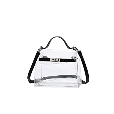 Lam Gallery Womens Fashion PVC Clear Purses Transparent Shoulder Handbags  for Stadium Concert Working Plastic See Through Cross Body Bags-Silver  Hardware ... befcb177a5b0