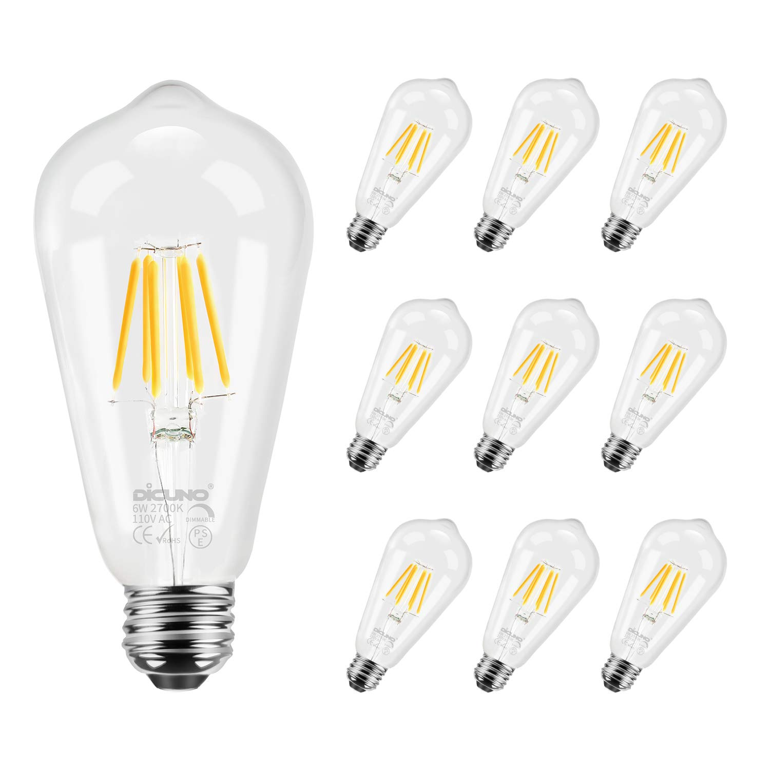 DiCUNO Edison Bulb Medium E26 Standard Base Dimmable ST64 6W 60W Equivalent 4500K Daylight White Vintage LED Light Bulb Pack of 6