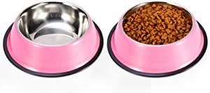 Podinor Stainless Steel Dog Bowls, Food and Water Non Slip Anti Skid Stackable Pet Puppy Dishes for Small, Medium and Large Dogs (2 Pack)