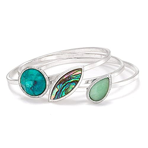 Jewelry & Watches Beautiful 3 Piece Abalone Silver Tone Jewelry Set Clients First