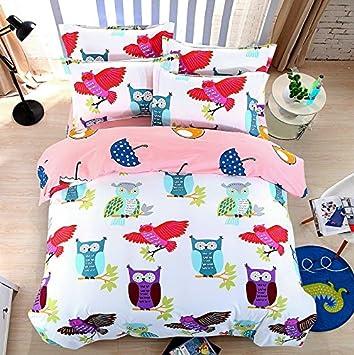 Bed Set 4pcs Bedding Set No Comforter Duvet Cover Set 100% Combed Cotton Flat Sheet Duvet Cover Pillowcase Twin Full Queen Human Friend Owl Designs (Flying Owl, Pink, Twin, 60x80) 60x80) Nova