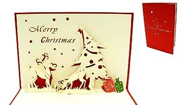 Weihnachtskarten Mit Bild.Pop Up 3d Weihnachtskarten Mit Rentier