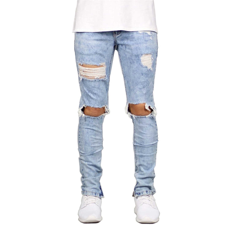 Cheryl Bull Stylish Men Jeans Stretch Destroyed Ripped Design Ankle Zipper Skinny Jeans For Men E5020