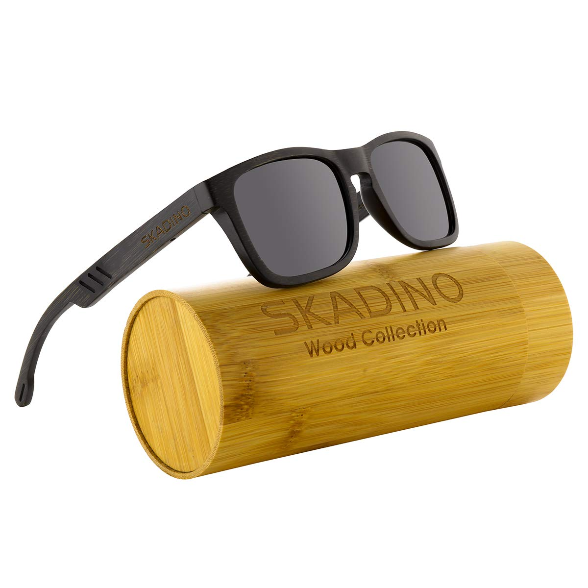 Black 1 SKADINO Handmade Bamboo Sunglasses with bluee Mirror Polarized Lenses for Men or Women in a Cateye That Floats SKD046