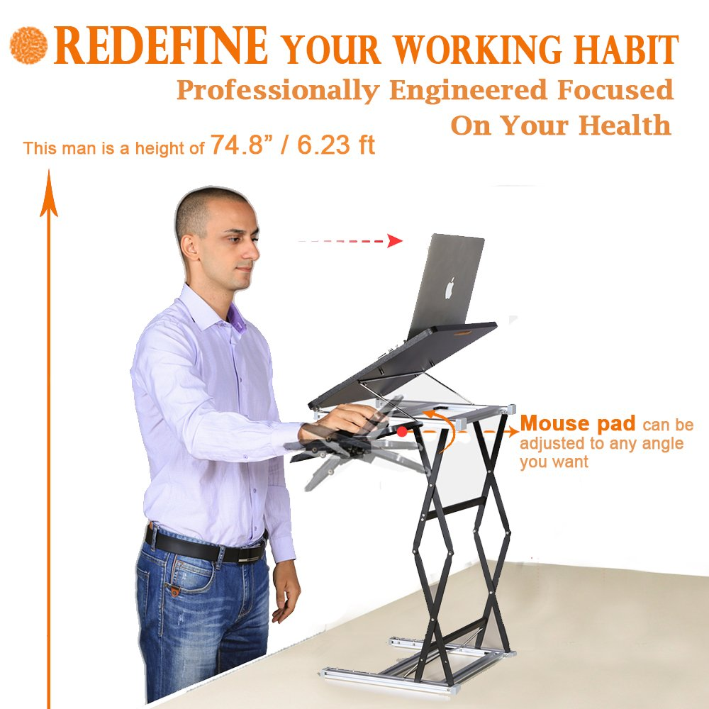Annstory Laptop Desk, Portable Riser and Standing Table Adjustable Riser Height 4.9''-31'' Sit Or Stand Up Desk Easy Height Adjustments Table Office Desk Laptop Desk Tray by Annstory (Image #8)