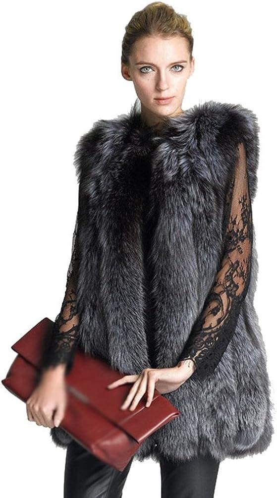 LvRao Donna Giacca Gilet Invernale Cappotto di Falso Pelliccia Senza Maniche Giacchetto Giubbotto Parka