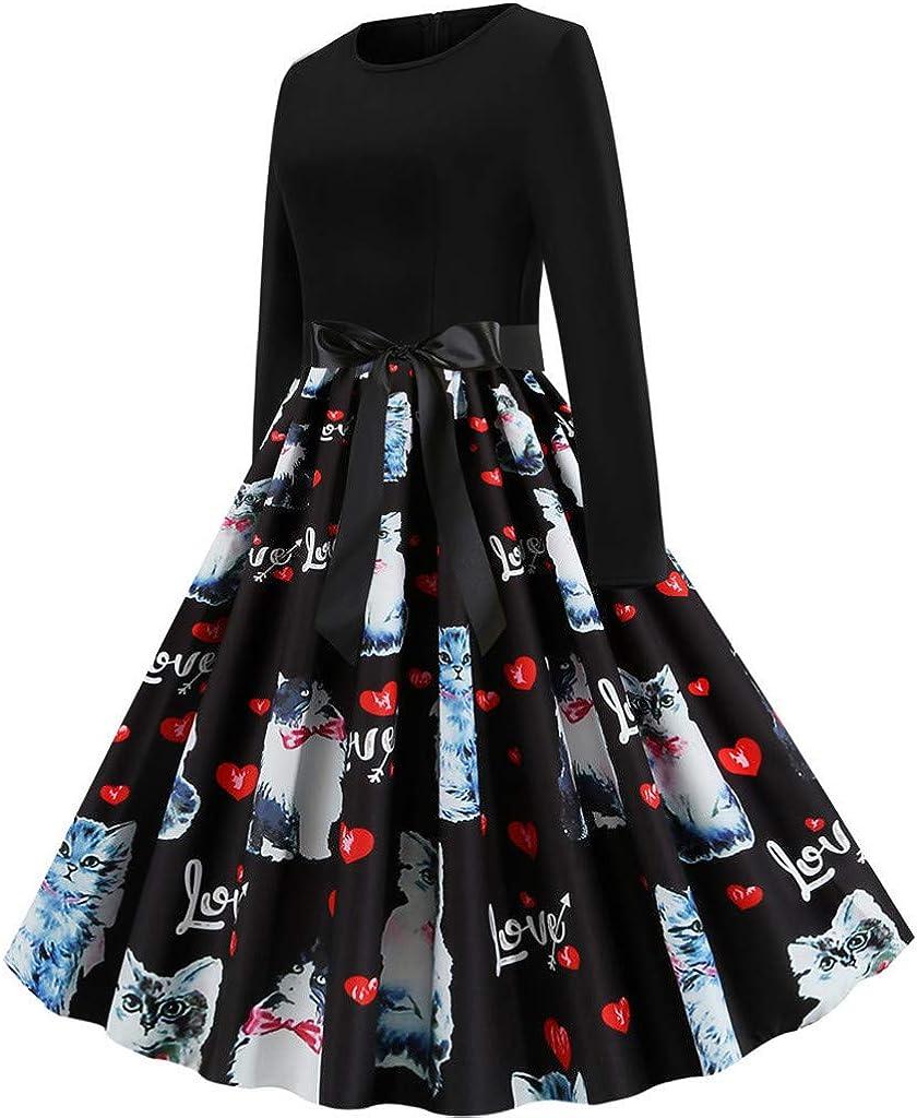 iNoDoZ Christmas Dresses for Womens Fashion Print Sleeveless Lace Hollow Evening Christmas Dress