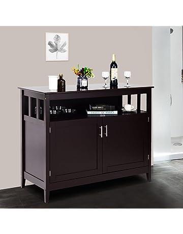 Costzon Kitchen Storage Sideboard Dining Buffet Server Cabinet Cupboard With Shelf Espresso