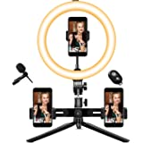 "10"" Selfie Ring Light - 14 Colors RGB with Tripod Stand/Microphone/3phone Holder/Camera Remote Shutter Best 10…"