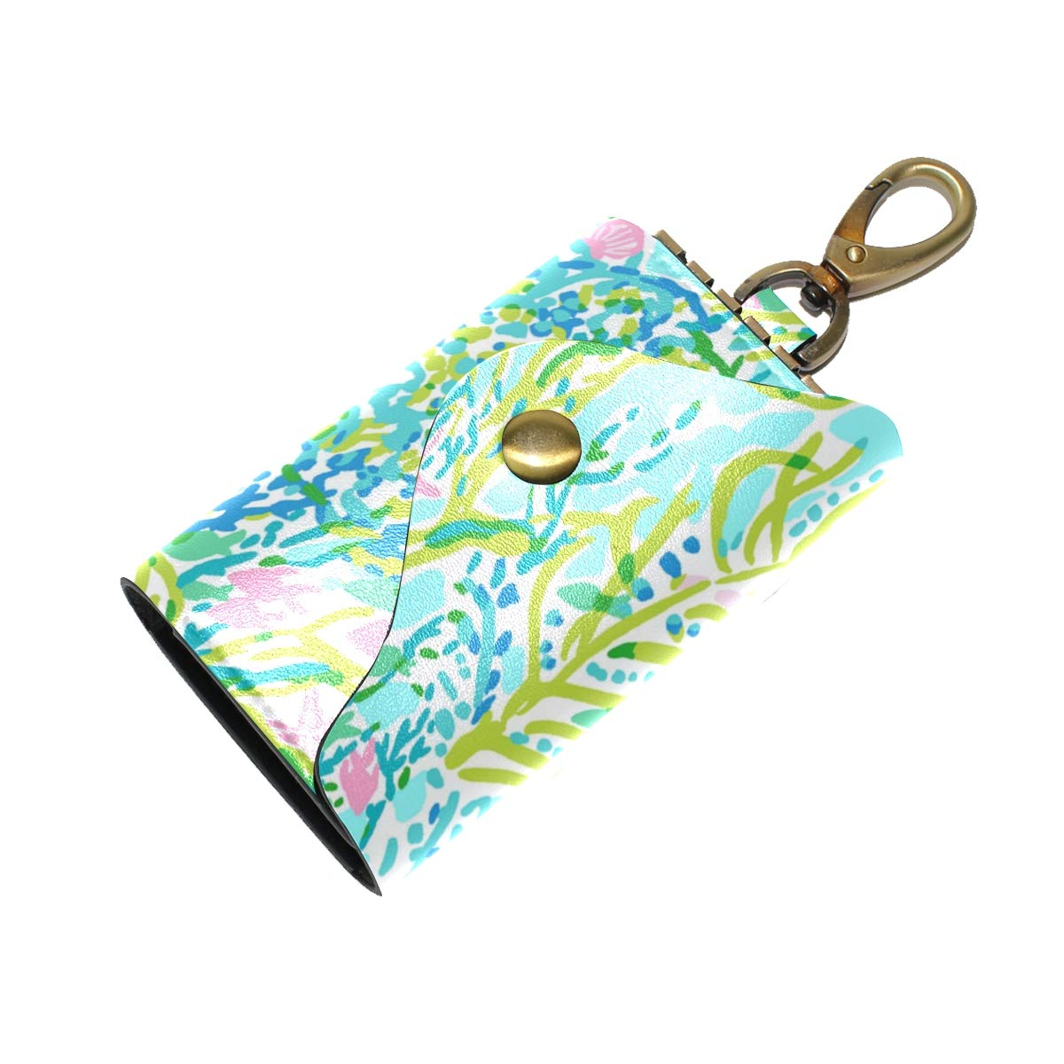 KEAKIA Coral Leather Key Case Wallets Tri-fold Key Holder Keychains with 6 Hooks 2 Slot Snap Closure for Men Women