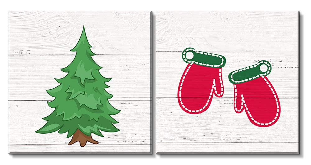 2 Panel Square Christmas Theme Drawing Of A Pine Tree And Red Socks