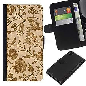 EJOY---La carpeta del tirón la caja de cuero de alta calidad de la PU Caso protector / Sony Xperia Z2 D6502 / --Papel pintado retro de la vendimia floral de las floraciones de Brown