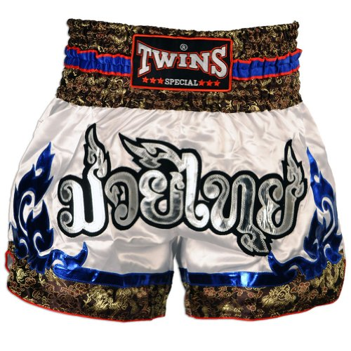 [Twins Special Muay Thai Shorts - by VillaMarket (White Blue Tribal, XXL)] (Chaussure Homme Costume)