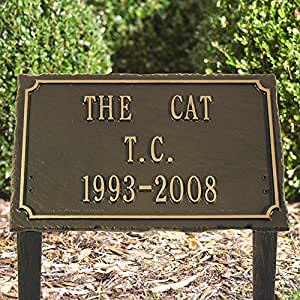 Mascota, pizarra bronce/oro tres línea jardín placa conmemorativa