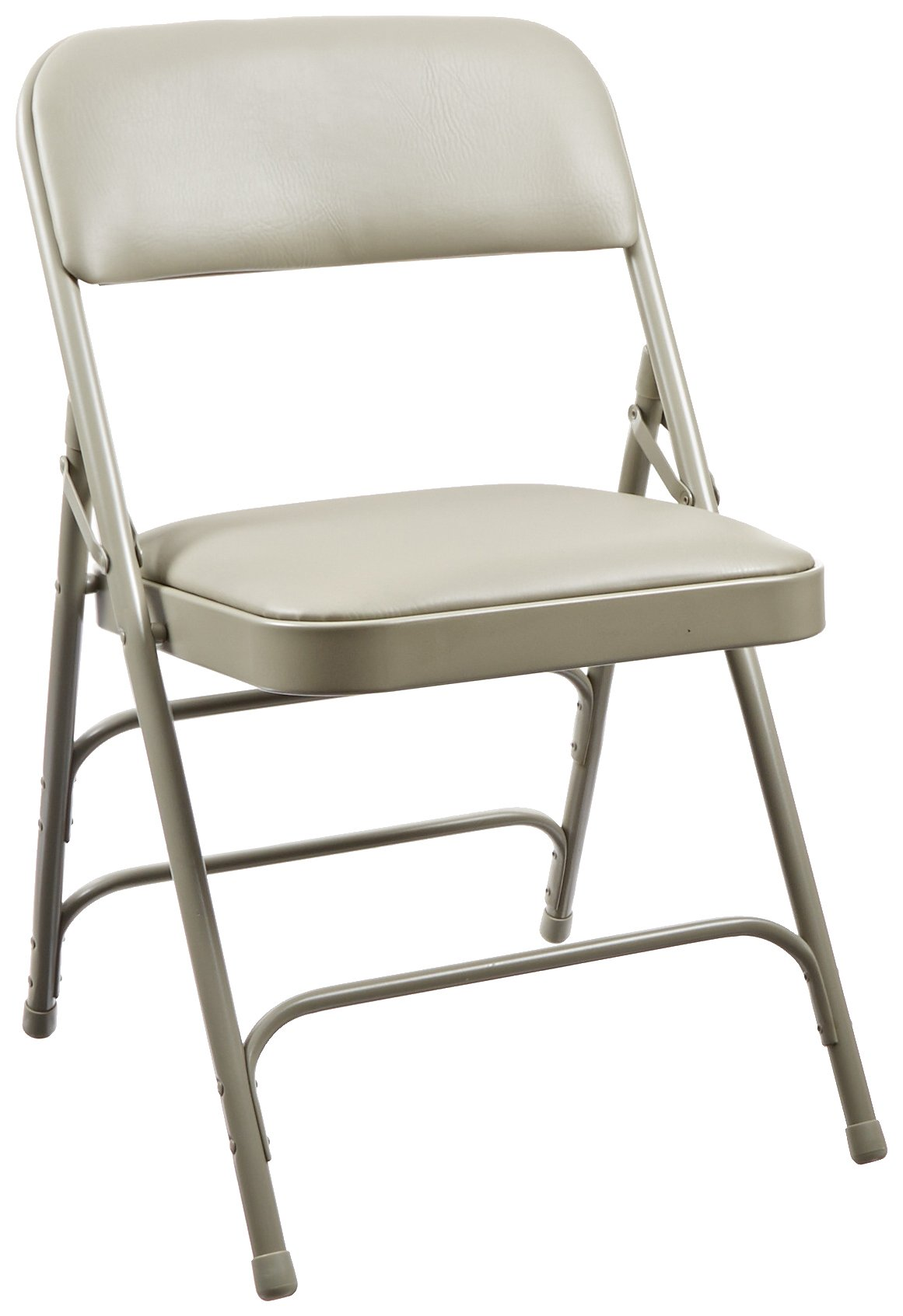 National Public Seating 1300 Series Steel Frame Upholstered Premium Vinyl Seat and Back Folding Chair with Triple Brace, 480 lbs Capacity, Warm Gray/Gray (Carton of 4)