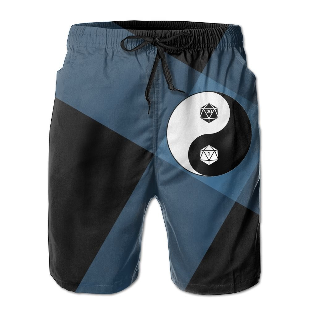 Dungeons and Dragons Yin Yang Mens Athletic Classic Swim Beach Shorts with Pockets