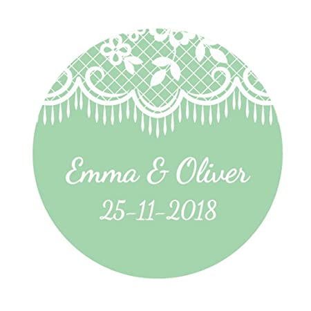 Ekunstreet 48x personalised 40mm wedding favour white lace stickers green wedding favour sticker